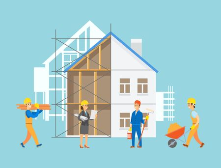Engineers and handymen vector, people with tools and instruments working on construction of apartment, male with carriage filled with sand, planning lady