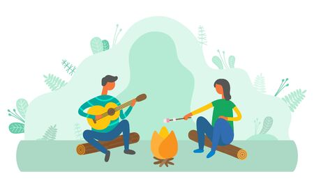People relaxing by bonfire in forest vector, man playing guitar and woman frying marshmallow. Rest on nature, male guitarist couple spending time outdoors