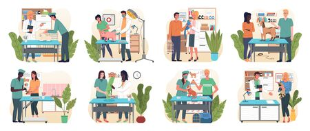 Veterinary flat set with pet carriage vet clinic and doctor isolated, vector. Medical personnel with animals. Veterinarians in medical gowns, doctor in uniform holding various pets. Medical vet care Vektorgrafik