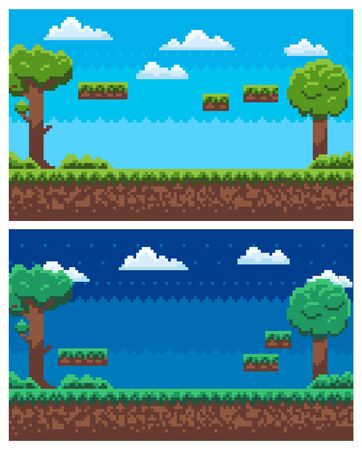 Pixel game landscape vector, set of scenes for rounds, ground with soil and grass, sky and clouds, trees with foliage and branches, pixelated nature