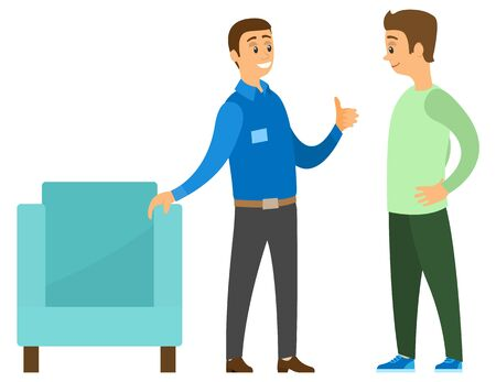 Man in furniture store vector, isolated people in shop. Consultant showing armchair to customer. Male wearing uniform and badge, salesperson flat style