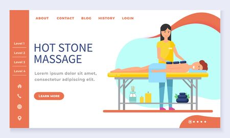 Hot stone massage, spa salon web landing page template vector. Girl lying at massage table, beauty studio, wellness center Internet banner. Massaging session, masseur and patient in towel illustration Ilustrace