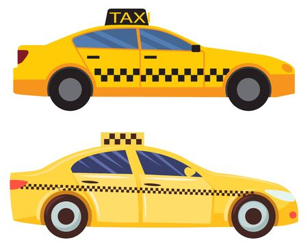 Transportation in city vector, isolated set of yellow cab taxi with sign and squared prints. Automotive service, transport. Vehicle for communication and connection in town illustration in flat style design