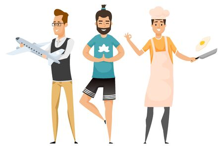 Portrait and full length view of employees, tourism manager holding plane, balancing sporty person, man in apron with egg on frying-pan, hobby vector 向量圖像