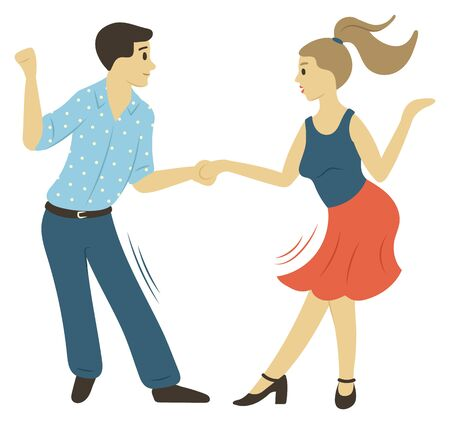 People character dancing, full length view of man and woman moving with holding hands isolated. Dancers rhythm, male and female hobby, motion vector 向量圖像