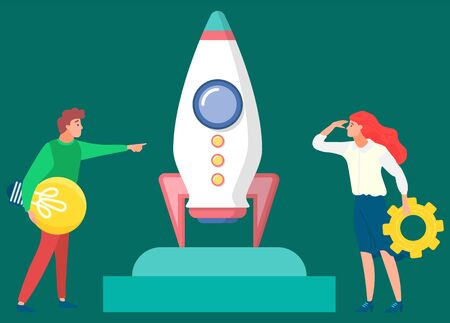 People managers looking at rocket and future. Business tools for innovations and cooperation. Vector illustration in flat style on dark background