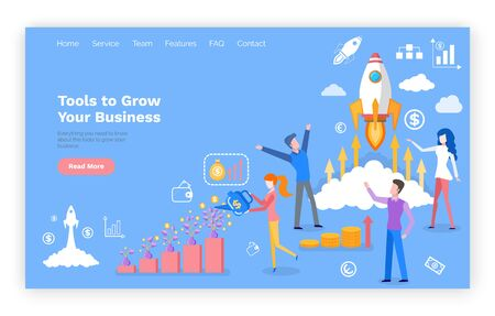 Tools to grow business online web page template vector. Rocket start and money growth, entrepreneurs and graphics, website or landing page flat style
