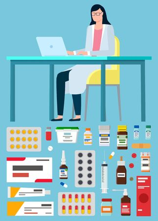 Online medicine and help of pharmacist doctor vector, isolated set of bottles with medications and pills. Pharmacy consultation from doc, laboratory scientist with laptop