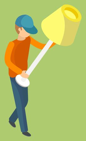 Delivery service man carrying torchiere. Yellow lampshade Porter in workwear carrying furniture piece. Relocation and transportation 3D vector illustration