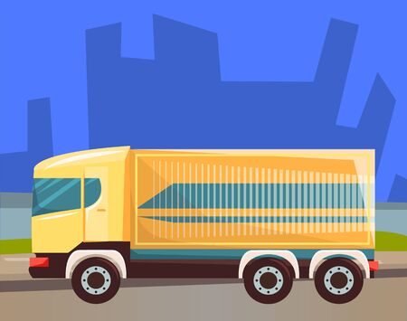 Lorry with compartment for goods or cargo vector, car transporting big items. Cityscape at night, silhouette of skyscrapers, van transport. Automobile service shipping and delivering objects 向量圖像