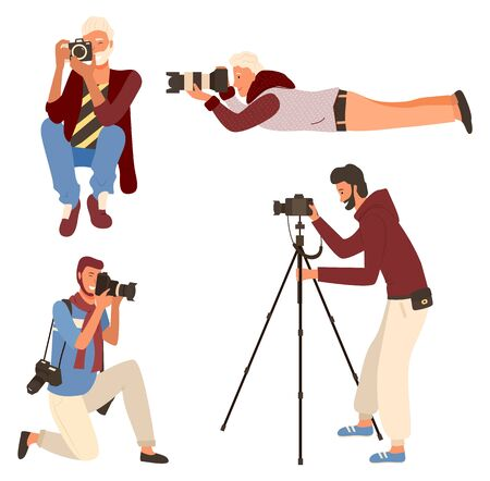 Smiling man taking photo, photographer character in casual clothes shooting. Male sitting, lying and standing with camera on tripod, photographing vector