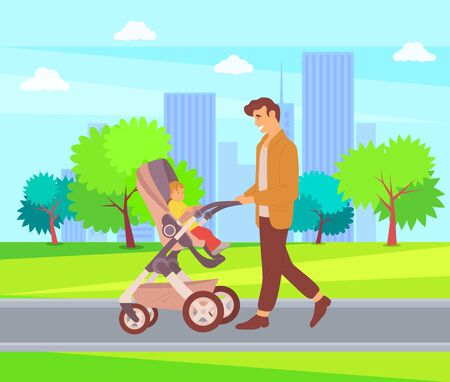Daddy spending time with child vector, city walk, father and offspring sitting in perambulator walking in city park, town buildings with park and greenery trees, parenting and care  イラスト・ベクター素材
