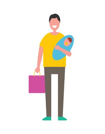 Man holding newborn baby on hands, fatherhood concept vector illustration isolated. Father and son infant, happy nursery, taking care about child