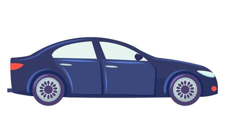 Blue car isolated on white background. Sedan with glasses. Auto to drive and get your destination quickly. Wheeled motor vehicle used for transportation. Vector illustration in flat style