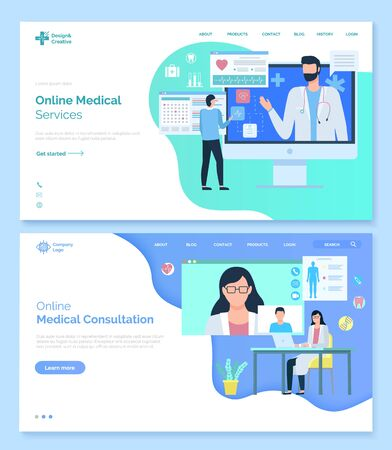 Online medical consultation vector, help of professionals at hospital. Meeting with patient and diagnosis, analysis research conclusion for client. Website or webpage template, landing page flat style