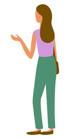 Back view of girl in green trousers and purple sleeveless shirt isolated on white. Vector pretty girl at marketplace, cartoon style character in flat design