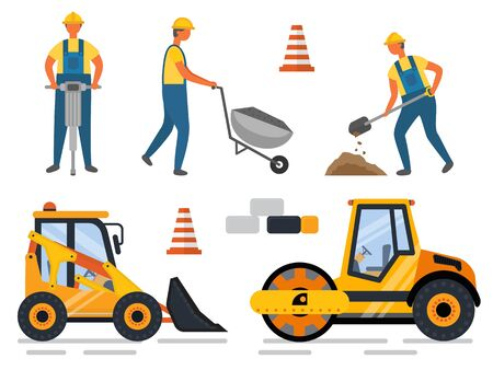 Construction equipment and people working vector. Man with shovel digging hole, carriage loader and drill instrument. Bulldozer machinery flat style