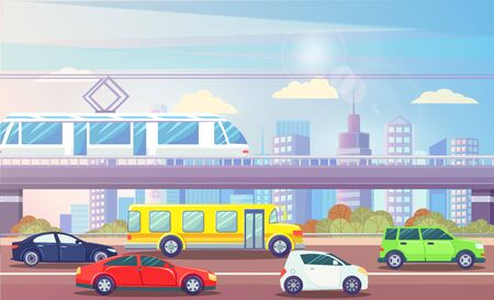 Cityscape vector, streets filled with cars and public transport, train on bridge. Skyscrapers and clouds, bushes and greenery by roads. Bus and vehicles 向量圖像