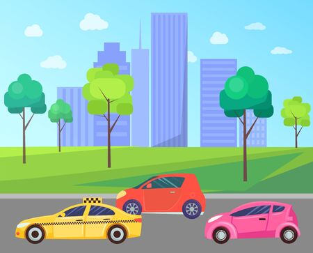 City with cars on roads vector, cityscape with buildings and skyscrapers. Downtown exterior of construction and towers. Park with trees and greenery