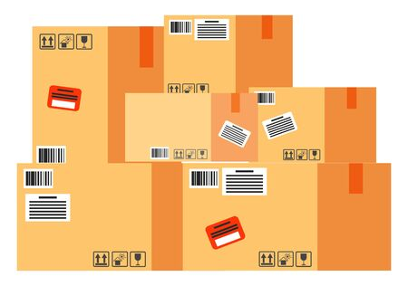 Cube shaped big boxes, international postal containers. Worldwide delivering for parcels. Warehouse with brown cardboard objects isolated on white background, vector illustration in flat style 向量圖像