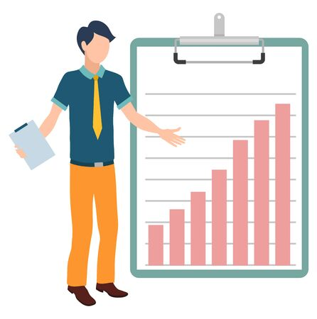Growing graphics on clipboard and character vector, isolated man holding documentation concerning organization. Novice with paper and increasing chart 일러스트