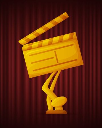 Golden trophy on shape of clapper board. Video reel equipment and glossy prize. best movie award. Cinematography ceremony, reward of winner vector illustration