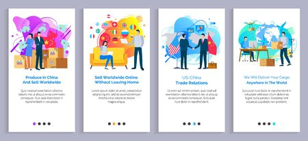 Produce in china vector, us and chinese relations partners handshaking, delivery of cargo logistics service, people working from home using internet. Website or slider app, landing page flat style