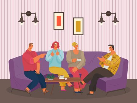 People spend leisure time together playing games in cafe. Men and women sit on violet sofa and have coffee break. Meeting with friends in coffeehouse or living room. Vector illustration in flat style