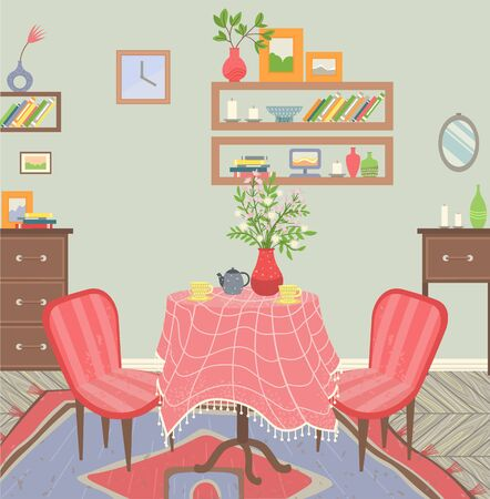 Dining room interior, table with tablecloth. Wooden drawers and shelves with books, aroma candles and photo frames. Decoration of flat. Vector illustration in flat cartoon style