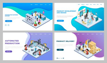 Set of pictures with automated production and product development. People working on engineering process, controlling it and logistics. Vector illustration of manufacturing website in flat style