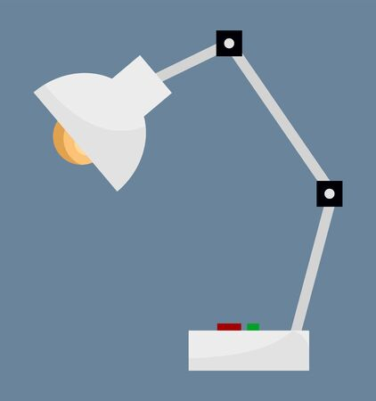 Table lamp with light bulb and adjustable tube, isolated icon of device for making space lit. Decor and furniture for home or working space design. Desk-lamp for interior vector in flat style Banque d'images - 143617160