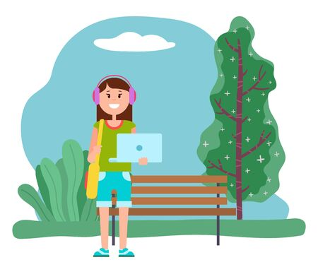 Happy woman stand near wooden bench in park. Lady listening music in headphones and hold opened laptop in hands. Modern electronic device, personal computer. Vector illustration in flat style  イラスト・ベクター素材