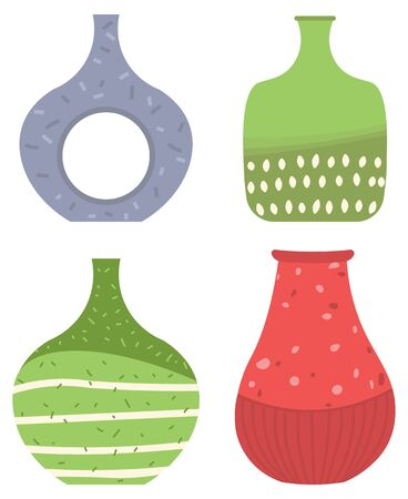 Set of striped vase isolated on white. Crockery decorative jar with waves ornament, color pot in flat style design, ceramic flowerpot. Handmade items from clay. Vase for flowers. Vector illustration Vector Illustratie