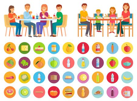 Family having dinner at home. Two pictures, healthy domestic and unhealthy junk meals. Mother and father, daughter and son eating together. Isolated icons of products. Vector illustration in flat style Ilustracja