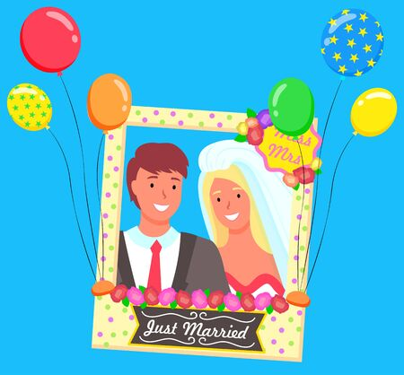 Miss and Mrs, just married, wedding couple in color photo frame with polka dot pattern. Border with flower and balloons on blue. Festive decoration element. Photozone accessories vector illustration