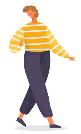 Boy walking alone, person isolated on white background. Young man dressed in casual clothes like shirt or sweater and pants. Guy posing and smiling for picture. Vector illustration in flat style