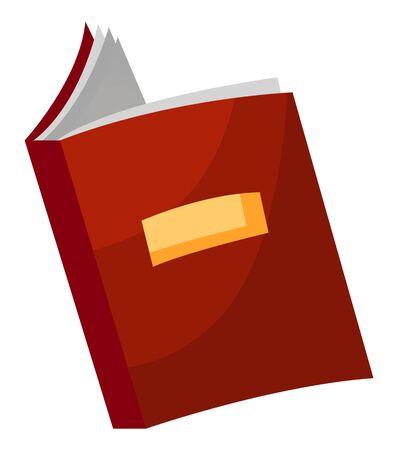 Symbole de menu de café avec icône d'étiquette isolé sur blanc. Idée créative avec livre ouvert avec couverture rouge dans un style design plat. Élément d'objet de restaurant pour la présentation du vecteur de nourriture et de boisson