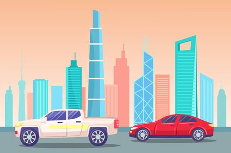 Cityscape with modern architectural wonders, landmarks and places of interest. Cars passing skyline of big city. Vehicles on roads of town. Downtown or business center view. Vector in flat style