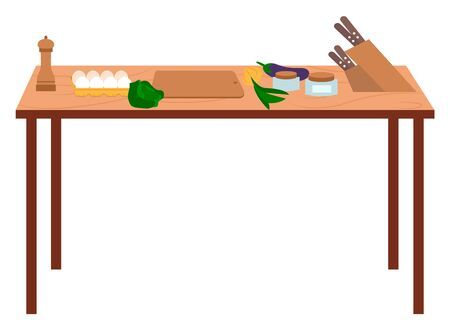 Cooking place with vegetables cabbage, bow and squash. Kitchen element tables with vegetarian products, knife and spices. Ingredients for preparing dish on wooden desk isolated on white vector 向量圖像