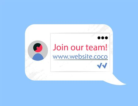 Join our team, website chat bubble with info about company. Offer to become member of new staff, advertisement to follow the webpage vector illustration