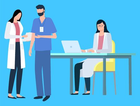 People at work vector, isolated doctors wearing uniform, laboratory with professionals dealing with sickness and diseases. Science study of experts