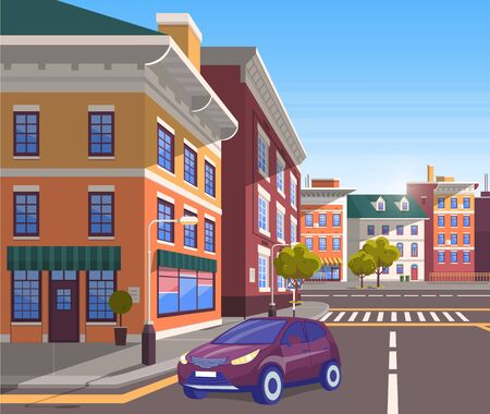 Cityscape of modern city center. Car driving along street of town with infrastructure and developed architecture. Vehicle on road turning on corner, traveling by auto. Vector in isometric 3D style 向量圖像