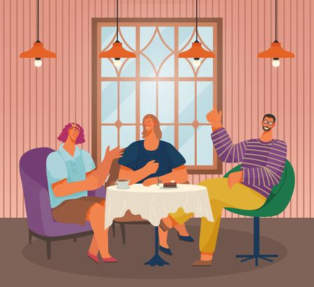 Friends in cafe eating out on weekends. Man and women in restaurant calling waiter. Character having conversation by table. Personages talking in diner with modern interior, vector in flat style