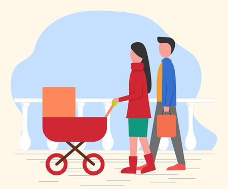 Mother and father with child in baby pram have walk in park. Parent roll pram with newborn inside, stroll on fresh air. Parents caring about kid, family together. Vector illustration in flat style
