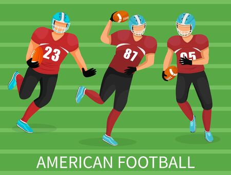Three footballers playing in american football. Training or competition of team. People in uniform and helmet on stadium. Picture with capture with name of game. Vector illustration of playground 向量圖像