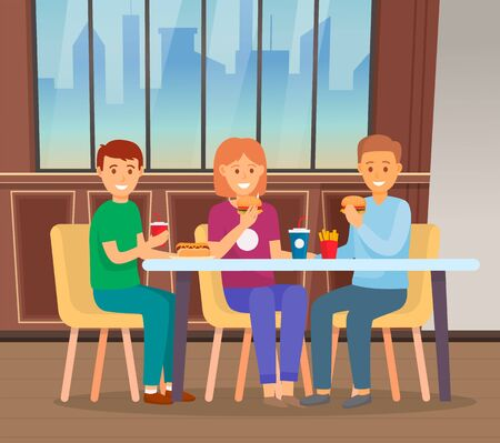People having lunch together in fast food restaurant. Friends spending time and eating out. Men and woman eat burgers and drink soda. Cafe interior with urban view from window. Vector illustration