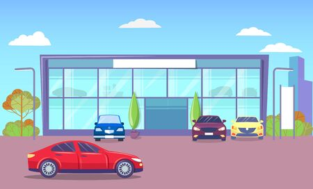 Office exterior with transport parked by headquarter. Modern city infrastructure and architecture. Cityscape with cars on roads. Townscape of business center with automobile. Vector in flat style