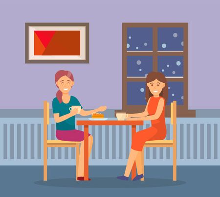 Friends spending time together at home. Meeting of two women for intimate talk, conversation. People drinking coffee and eating cake. Cozy apartment interior. Vector illustration in flat style  イラスト・ベクター素材