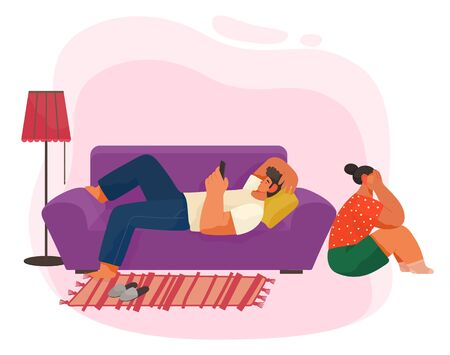 Guy play on smartphone and lie on violet sofa, couch. Woman sitting on floor and crying. Life of young couple with quarrel. Furnishing of living room like couch and carpet. Vector illustration in flat  イラスト・ベクター素材