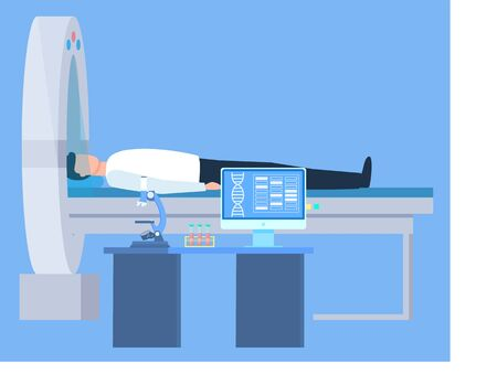 Patient lying on medical table, research brain in round equipment. Dna report in computer, microscope and test tube on table laboratory or clinic, computer tomografy CT, magnetic resonance imaging MRI
